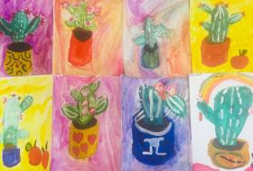 Рисуем цветущий кактус